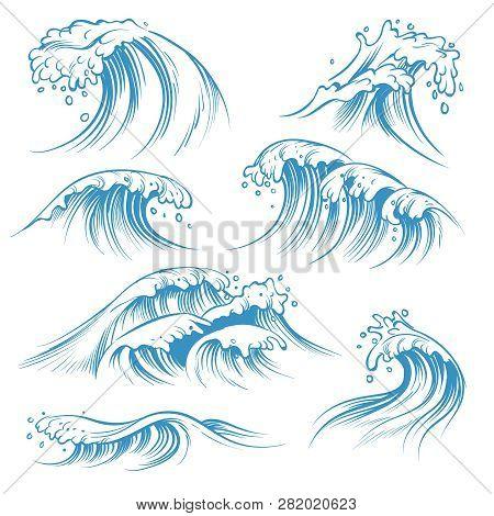 Hand Drawn Ocean Waves. Sketch Sea Waves Tide Splash. Hand Drawn Surfing Storm Wind Water Doodle Vec