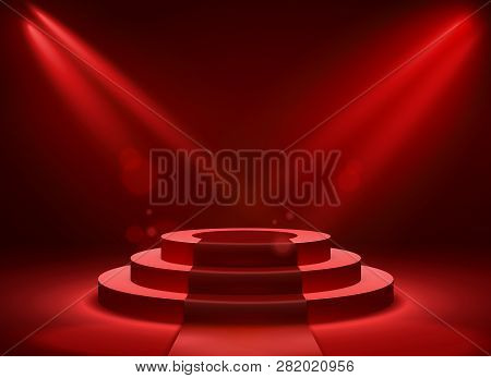 Stage Podium Lighting. Award Ceremony Victory Pedestal Champion, Show Victory, Event Celebration Win