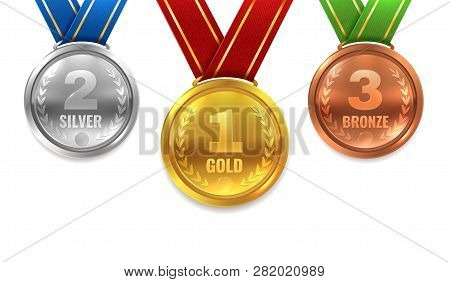 Gold Silver Bronze Medals. Winner Shiny Circle Medal Honor Champion Award Ceremony Trophy Place Spor