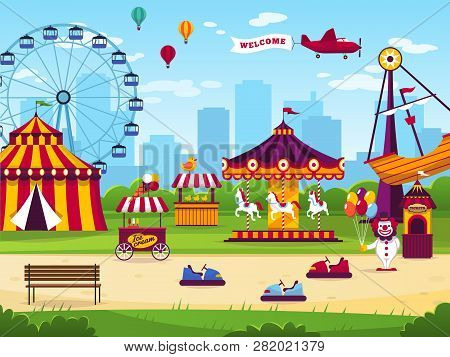 Amusement Park. Attractions Entertainment Joyful Amuse Carnival Fun Circus Carousel Kids Game Funfai