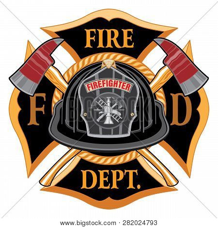 Fire Department Cross Vintage With Black Helmet And Axes Is An Illustration Of A Vintage Fireman Or