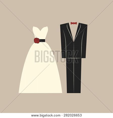 Wedding Clothing, Bride And Groom Dress And Suit. Bridal White Dress And Groom Formal Suit Vector De