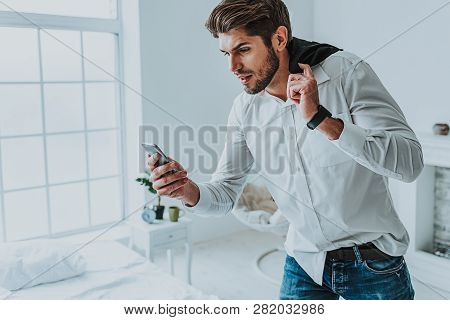 Young Careless Guy Hurry Up On Important Meeting