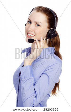 Support-Telefon-Betreiber im Headset, isolated on white background