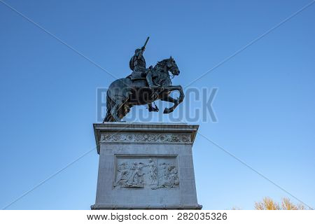 Monument Of Felipe Iv On Plaza De Oriente In Madrid, Spain