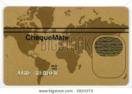 Gold Credit Card With World Map
