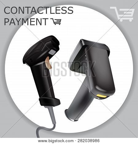 Contactless Payment Card Scan. Pos Terminal, Msr, Emv, Nfc Reader. Laser Barcode Price Smartphone Sc