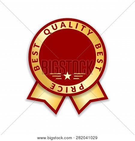 Ribbon Award Best Price Label. Gold Ribbon Award Icon Isolated White Background. Best Quality Golden