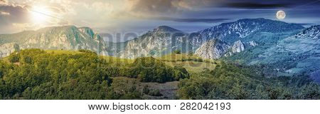 Day And Night Time Change Concept Above Mountainous Panorama. Beautiful Landscape Of Romania With Su