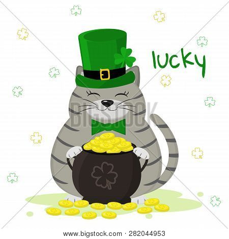 St.patrick S Day. Gray Striped Cat In A Green Leprechaun Hat, Bowler With Gold Coins, Clover. Cartoo