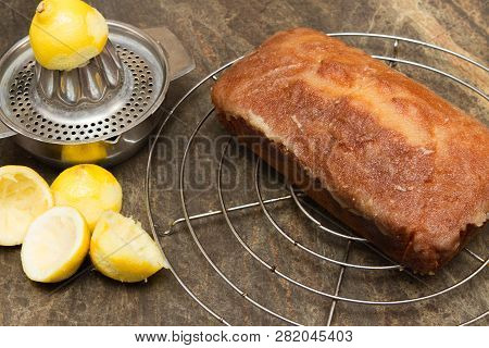 Cooling Homemade Lemon Drizzle Cake A Cooling Rack With A Freshly Made Lemon Drizzle Cake