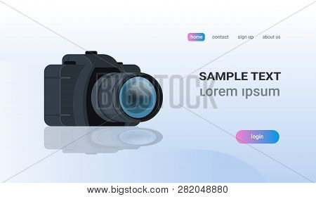 Realistic Modern Dslr Photo Camera Copy Space Flat