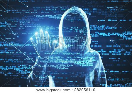 Hacker Using Abstract Blue Digital Number Interface With Hand. Cyberspace And Hacking Concept. Doubl