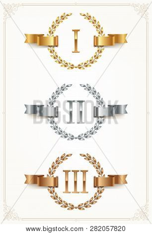 Set Of Rank Emblems - Gold, Silver, Bronze. First Place, Second Place And Third Place Signs With Rom