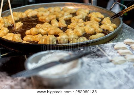 Chinese Donut Or Chinese Bread Stick.white Sugar Sponge Cake,oil-fried Pastry,