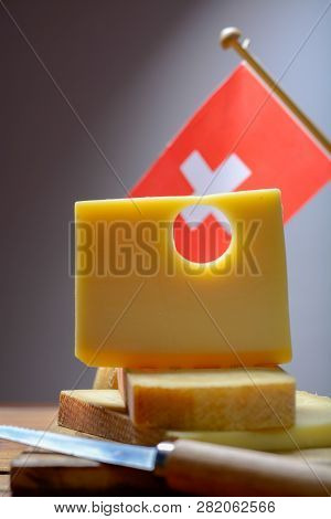 Swiss Emmental Or Emmentaler Medium-hard Cheese With Round Holes Made From Cow Milk In Canton Bern W