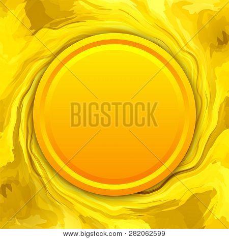 Golden Coin Or Medallion In Melting Gold Background