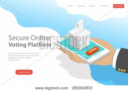 Flat Isometric Vector Landing Page Template Of Voting Online, E-voting.