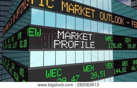 Market Profile Stock Ticker Wall Street Building 3d Illustration poster