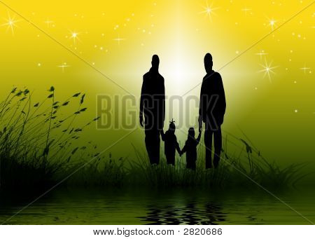 Family Of 4 Holding Hands Together Wall Paper