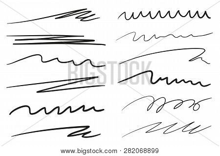 Infographic Elements Isolated On White. Set Of Different Sketchy Shapes And Underlines Elements. Arr