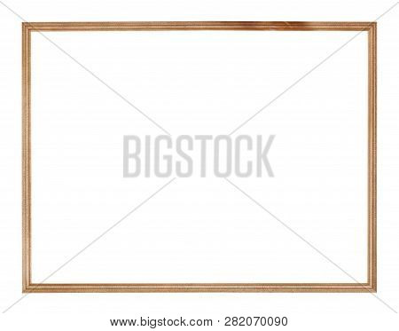 Empty Big Narrow Wooden Picture Frame With Cut Out Canvas Isolated On White Background