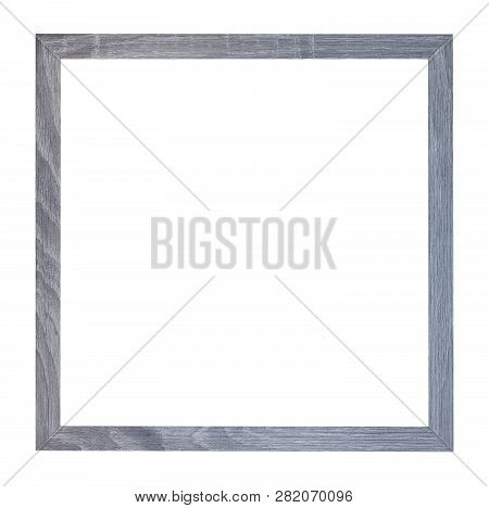 Empty Square Gray Wooden Picture Frame With Cut Out Canvas Isolated On White Background
