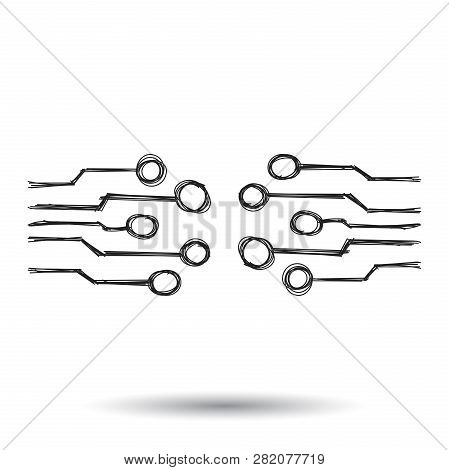 Hand Drawn Circuit Board Icon. Doodle Scetch Technology Scheme Symbol Flat Vector On White Backgroun