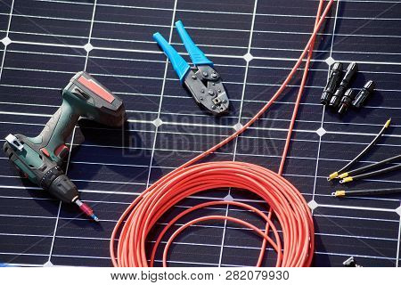 Close-up View Of Different Details And Instruments For Installing And Connecting Solar Photovoltaic