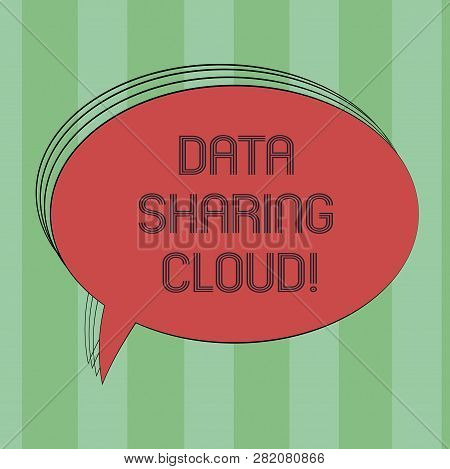Text Sign Showing Data Sharing Cloud. Conceptual Photo Using Internet Technologies To Share Files Be