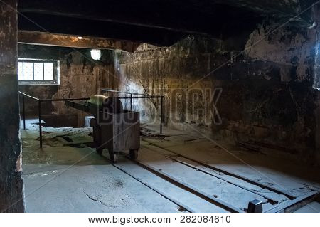 Auschwitz, Poland - July 2017: The Crematorium In Auschwitz Camp I.