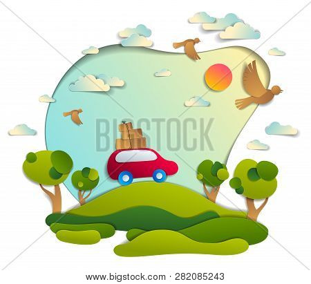 Red Car With Baggage In Scenic Nature Landscape, Green Fields And Trees, Birds And Clouds In The Sky