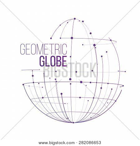 Abstract Line And Dots Globe Design, Vector Illustration Isolated On White Background.