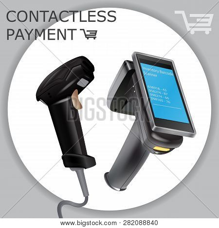 Inventory Barcode Scanner Reader. Barcode Scanner Vector Illustration Isolated On White. Hand Held W