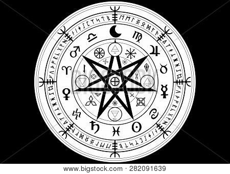 Wiccan symbol of protection. Set of Mandala Witches runes, Mystic Wicca divination. Ancient occult symbols, Earth Zodiac Wheel of the Year Wicca Astrological signs, vector isolated or black background poster