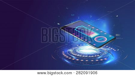 Wireless Charging Of The Smartphone Battery. Future Concept. The Progress Of Charging The Battery Of