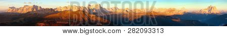 Evening Sunset Colored Panoramic View Of Alps Dolomites Mountains From Col Di Lana, Civetta, Pelmo,