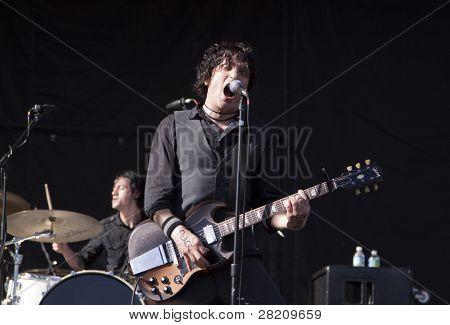 CLARK, NJ - SEPTEMBER 11: Frontman / Guitarist Jesse Malin performs at the Union County Music Fest on September 11, 2010 in Clark, NJ.