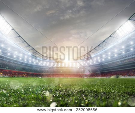 Midfield Of Grass Soccer Stadium Field With Headlights
