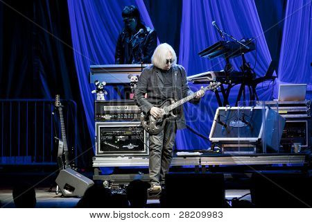 CLARK, NJ - SEPT 17: Guitarist Chris Stein of rock band Blondie performs at the Union County Music Fest on September 17, 2011 in Clark,NJ. The band will tour to support the release Panic of Girls.