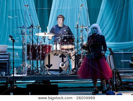 CLARK, NJ - SEPT 17: Drummer Clem Burke and singer Deborah Harry of the rock band Blondie perform at the Union County Music Fest on September 17, 2011 in Clark, NJ.  Their new release-Panic of Girls.