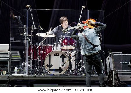 CLARK, NJ - SEPT 17: Drummer Clem Burke and guitarist Tommy Kessler of the band Blondie perform at the Union County Music Fest on September 17, 2011 in Clark, NJ. Newest release titled Panic of Girls.