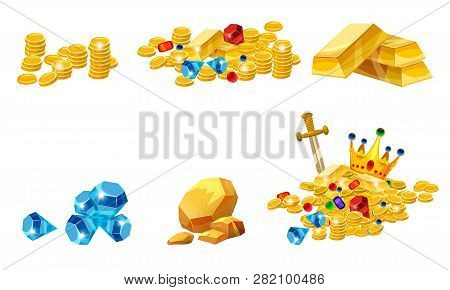 Set Treasure, Gold, Coins, Rock Gold Nugget, Bars, Jewels, Crown, Vector, Isolated, Cartoon Style, F