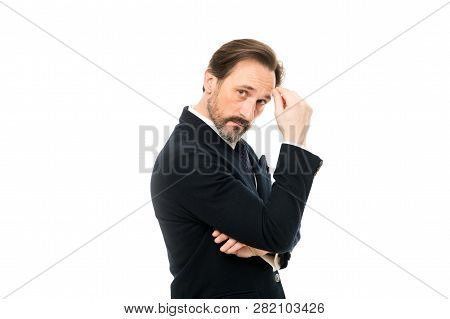 Man Handsome Confident Mature Fashion Model Wear Fashionable Suit On White Background. Ways To Acces