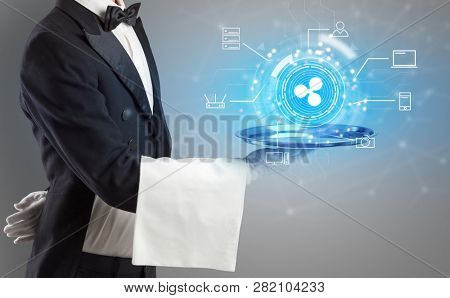 Waiter serving on a tray cryptocurrency and mining concept