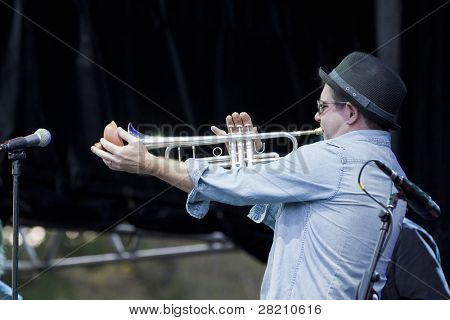 CLARK, NJ - SEPT 18: Trumpet player for the band Southside Johnny & The Asbury Jukes performs at the Union County Music Fest on September 18, 2011 in Clark, NJ.