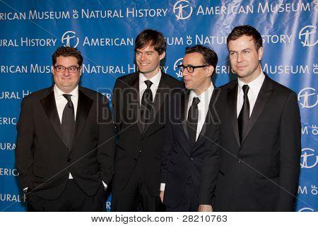 NEW YORK - NOV 10: SNL cast members Bobby Moynihan, Bill Hader, Fred Armisen, and Taran Killam attend the American Museum of Natural History's  2011 Gala on November 10, 2011 in New York City, NY.