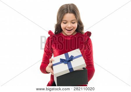 Happy Birthday Concept. Girl Kid Hold Birthday Gift Box. Every Girl Dream About Such Surprise. Feel