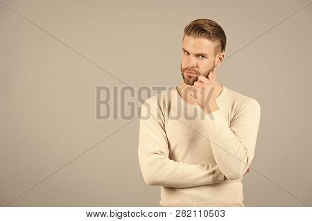 Thoughts And Doubts Concept. Man Bearded Thoughtful Face, Grey Background. Man With Beard Unshaven G