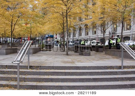 NEW YORK - NOV 17: An empty Zuccotti Park on the morning of the 'Day of Disruption' on November 17, 2011 in New York City, NY. Protesters had occupied the park for 2 months before being evicted.